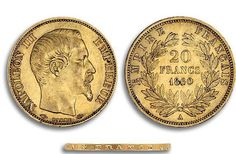 Petite histoire sur l'Or : Le Napoleon 20 Francs Or  Le napoléon est une pièce de monnaie d'or française de vingt francs contenant 5,805 grammes d'or pur, créée le 28 mars 1803 par le Premier Consul Napoléon Bonaparte.  Le napoléon est créé, sous le Consulat, par la loi du 7 germinal an XI (28 mars 1803), sur la fabrication et la vérification des monnaies
