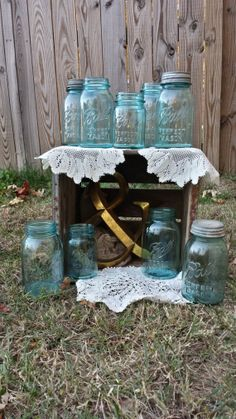Vintage Blue Mason Jars. Quart Sized. Aqua Blue. Wedding Decor www.etsy.com/shop/vintagerusticcharm