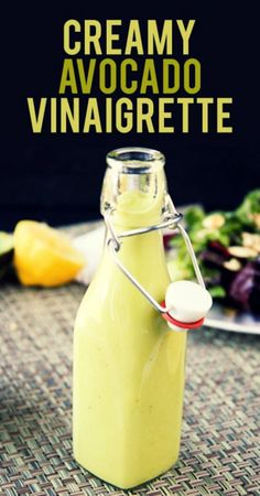 - Creamy Avocado Vinaigrette - The avocado in this dressing makes it so silky creamy that you'll have a hard time believing there isn't diary in it. Use good olive oil and fresh, bright lemon juice and you'll have a new house dressing. Creamy Salad Dressing, Salad Dressing Recipes, Salad Dressings, Salad Recipes, Avocado Vinaigrette, Avocado Salad, Canned Blueberries, Vegan Scones, Scones Ingredients