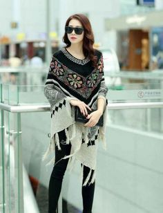 Free size loose long wrap poncho sweater with tassel/fringe. Can be a gift to someone you love who always cold, who loves cardigans. NOTE: accessories are not included.   Product:cardigan...@ artfire