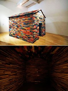 Janet Cardiff and George Bures Miller built this mini house from hundreds of recycled books for Modern Art Oxford and the Fruitmarket Gallery in 2008