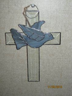 Stained Glass Bevel Cross with Grey Dove by GlassArtbyCharolette, $32.00