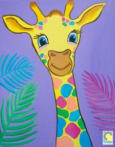 giraffe art for kids Giraffe Drawing, Giraffe Painting, Giraffe Art, Kids Canvas Art, Easy Canvas Painting, Family Painting, Painting For Kids, Kids Paint Night, Sainte Sophie