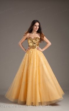 Dazzling Gold A-line Dress Features Sexy Sweetheart Neckline And Twinkling