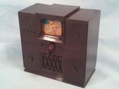 Vintage-1950s-Ideal-Dollhouse-TV-Television-Console-Set-w-Changing-Screen-EC
