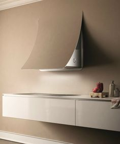Wall-mounted steel cooker hood NUAGE By Elica design Fabrizio Crisà Kitchen Island Hood Ideas, Kitchen Hood Design, Kitchen Vent Hood, Kitchen Stove, Küchen Design, Interior Design, Strip Led, Stove Hoods, Houses