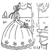 Crinoline Lady (in park)- Southern Belle embroidery pattern Deighton Flower Embroidery Designs, Hand Embroidery Patterns, Vintage Embroidery, Vintage Crochet, Cross Stitch Embroidery, Embroidery Transfers, Panel Quilts, Southern Belle, Craft Patterns