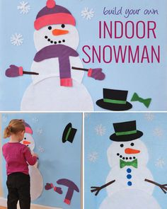 This snowman craft is quick and easy to make. It is perfect for those snowy days when it's just too cold to go outside and make a real snowman. It's also perf Snowman Party, Felt Snowman, Snowman Crafts, Felt Crafts, Diy Crafts, Snowmen, Christmas Activities, Craft Activities, Toddler Activities