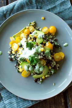 Grilled corn, black beans, and quinoa with cilantro lime dressing