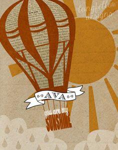 Customized Name Banner - You Are My Sunshine - Hot Air Balloon - Nursery Art - Kraft / Grain Look Print - 11 x 14