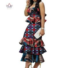 Image of Fashion Multilayer Draped Print Top & Skirt Sets Bazin Riche African Wax Dresses for Women 2 Pieces Skirts Sets Clothing African Lace Dresses, African Dresses For Women, 2 Piece Skirt Set, African Fashion Ankara, Collars For Women, Ankara Dress, Unique Dresses, Outfit Sets, Plus Size Outfits
