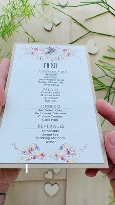 With Floral Watercolor Wedding Dinner Menu, brown ink wording matching will all group of flowers is a beautiful combination for an autumn reception and your guest will be delighted. #placecards #weddingstationery #weddingplacecards #weddingtabledecor #weddingdinnermenu #dinnnermenu