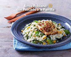 Dale a tu familia el sabor de Puebla con un arroz poblano con pescado a la parrilla.