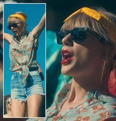 Taylor Swift's yellow polka dot headband and sunglasses on the 22 clip