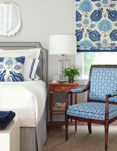 More Blue!  like the patterns together  Roman shade - Kashmiri linen    Directorie Fauteuil - Foglio