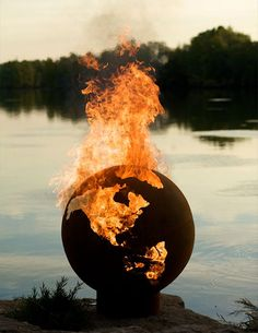 Earth Globe Fire Pit: Somedays you just want to set the world on fire Fire Pit Art, Metal Fire Pit, Fire Pits, Fire Pit With Rocks, World On Fire, Sculpture, Land Scape, Outdoor Living, Outdoor Life