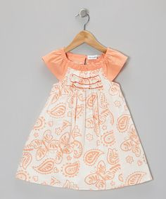 Take a look at this Coral Butterfly Angel-Sleeve Dress - Infant, Toddler & Girls by Coconut Creations on #zulily today!