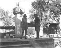 """1924 China, interesting picture of Aloha singing on an outdoor stage to Walter Wanderwell. So besides Aloha driving around the world doing travel lectures to thousands of people, learning to fly an airplane, explorer, author, filmography, stunt woman, and she is a singer.........................what a woman """"Queen of Adventure"""""""