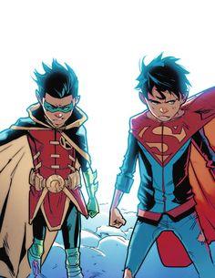"Robin & Superboy mysteryandnonstopfun: """"you two look like superman and batman got married and had twins "" "" Batman Comic Art, Batman Comics, Batman And Superman, Batman Robin, Damian Wayne, Jon Kent, Jonathan Kent, Hq Marvel, Batman Arkham Origins"