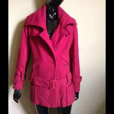 Red Wool Blend Belted Coat