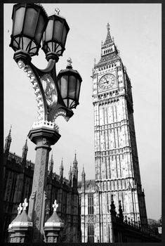 Quadro Decorativo em Preto e Branco Londres Big Ben 100x140cm - Decore Pronto