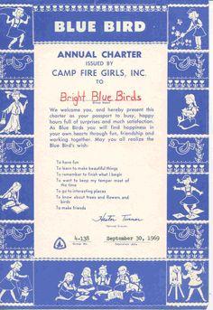 Charter Papers, Camp Fire Girls, Blue Birds