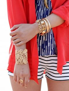 up to date navy: pattern mix in blue & white, red shirt-blouse, gold bracelets