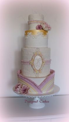 Wedding cake at Cake International 2014 Wedding Cake Pearls, Elegant Wedding Cakes, Wedding Cake Designs, Gorgeous Cakes, Pretty Cakes, Amazing Cakes, Cupcakes, Cupcake Cakes, Metallic Cake