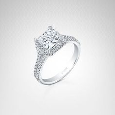 From the Unity Collection 14K white gold diamond princess cut asscher halo semi mount featuring .35 carat total weight. this is a semi mount only and does not include the center diamond.