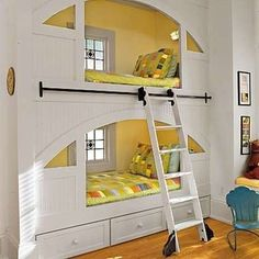 Built-In Bunk Beds - love the ladder - no link to originator of bed
