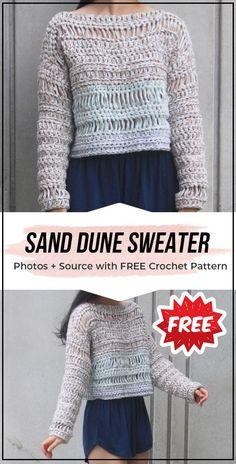 crochet Sand Dune Sweater free pattern - easy crochet sweater pattern for beginners Bag Crochet, Crochet Cardigan Pattern, Crochet Jacket, Crochet Woman, Crochet Patterns, Crochet T Shirts, Crochet Clothes, Crochet Sweaters, Crochet Fashion
