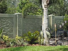 Until recently, residential fence styles were limited to decorative but insubstantial wall options. StoneTree® offers a better concrete block fence option! Concrete Fence Wall, Precast Concrete Panels, Cement Patio, Concrete Walls, Fence Wall Design, Modern Fence Design, House Gate Design, Privacy Fence Panels, Privacy Walls