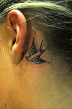 Swallow in grey ear tattoo