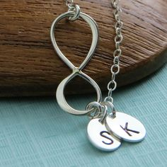 Infinity & Initials Necklace Silver Infinity by ShopSomethingBlue