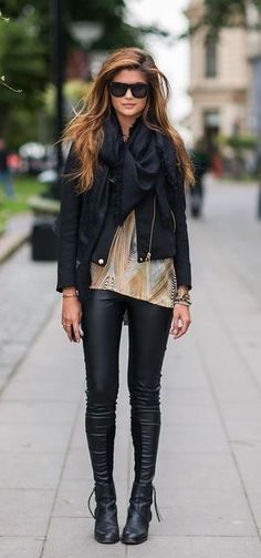 #street #style fall / leather + leather