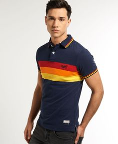 Mens - Super Sunrise Polo in Wave Navy Mix Vacation Outfits, Summer Outfits, Sports Polo Shirts, Superdry, Sunrise, Shirt Designs, Polo Ralph Lauren, Street Style, Mens Fashion
