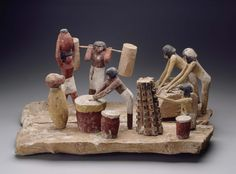 Model of a brewery, wooden. Ancient Egyptian tomb model depicts the scene of a brewery.  | Museum of Fine Arts, Boston