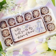 Will You Be My Matron of Honor Chocolates. Matron of Honor proposal. A personal and beautiful way to ask your best friend to be your Matron of Honor. Edible message on decadent chocolate is such a unique gift idea. By Diamond Chocolates