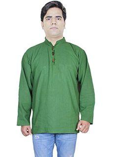 40e077b9 Clothing Fashion Shirt - Mens Cotton Short Kurta - India Dresses -Size M at Amazon  Men's Clothing store: