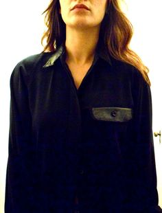 $35 Black blouse with leather collar and pocket