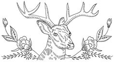Antique Tractor Embroidery Design with Flowers | Vintage embroidery pattern - deer and flowers | Embroidery patterns ...