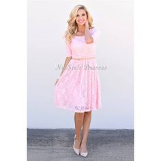 """Who doesn't love an absolutely beautiful lace dress! This stunning baby pink lace dress is fully lined, features half sleeves, a round neckline and has a gathered skirt. The romantic dress will not disappoint and is forever timeless!  Belt and accessories not includedTotal Length:XS-S 41.5""""  M-L 42"""" XL 42.5""""Features90% Nylon 10% SpandexMachine Wash Cold / Lay Flat to DrySpecificationsMikarose Size Chart for Knit Stretch FabricSizesXS0 to 2S4 to 6M8 to 10L12 to 14XL16 to 182XL20Bust Inches30""""…"""