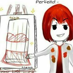 Castiel desenhando a Docete.