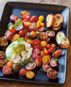 Cherry Tomato Salad with Burrata & Pesto