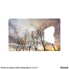Forest AT sunset with cloudy sky credit card bottle opener