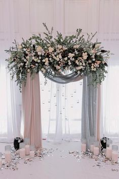 dusty rose wedding cloth on bridal arch with flowers and greenery candle aisle almadeco_ru