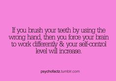 Random Facts Tumblr ..or someone wants everyone to awkwardly brush their teeth with the wrong hand for the rest of their lives..