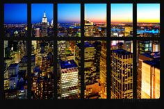 Wall Mural - Window View - Manhattan Skyline at Night - New York City Wall Mural – Large by Philippe Hugonnard at AllPosters.com
