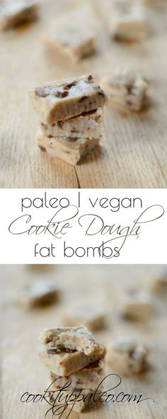 Cookie Dough Fat Bomb Recipe - coconut oil, nut butter, almond flour, maple syrup, chocolate chips