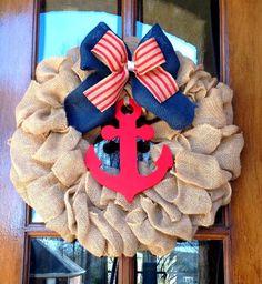 Burlap wreath Summer wreath Nautical wreath Beach by WreathChick